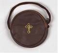 Brown Leather Stringed Burse for size 3 or 4 Pyx