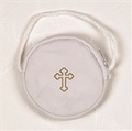 White Leather Stringed Burse for size 3 or 4 Pyx
