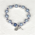 Stretch Faux Blue Pearl 8mm Rosary Bracelet