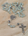 Light Blue Frosted Glass Bead Rosary