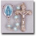 Double Capped Pearl Beads-Light Blue Rosary