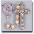 Double Capped Pearl Beads-Cream Colored Rosary
