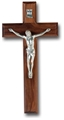 Walnut and Antique Silver Crucifix