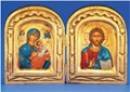 Handmade Diptych Gold Greek Painted Icon of Mary with Baby Jesus and Christ