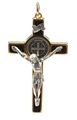 St. Benedict Crucifix - Brown Enamel with Gold Frame 2.25 Inches