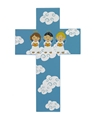 8 Inch Three Angels Wood Children's Cross
