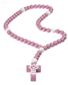 Large Pink Wood Baby Baptism Rosary in Gift Box