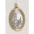 Our Lady of Fatima Medal Gold and Silver Toned 1-1/2 inch Oval Medal with Pray for Us on back