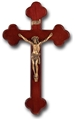 10 Inch Dark Cherry and Gold Wall Crucifix