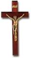 Dark Cherry and Gold Crucifix Straight
