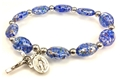 Dark Blue Murano Glass Stretch Rosary Bracelet