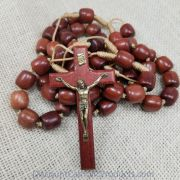 Brown Wood Bead Wall Rosary