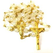 Clear Crystal Acrylic Gold Rosary