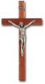Italian Walnut and Antique Silver Crucifix