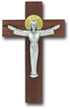 Italian Walnut and Antique Silver Risen Christ Crucifix