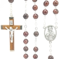 Genuine Cocoa Wood Rosary with Sacred Heart Center