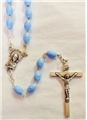 Blue Plastic Rosary with Elongated Beads