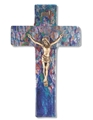 10 Inch Blue Glass Crucifix