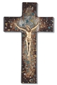 10 Inch Rich Brown Speckled Glass Crucifix