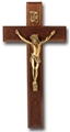 10 Inch Dark Walnut & Museum Gold Wall Crucifix