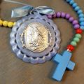 Blue Guardian Angel Crib Medal with Wooden Baby Rosary