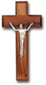 Walnut and Antique Silver Giglio Crucifix