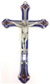 7 Inches Blue enamel crucifix. Imported from Italy. Boxed.