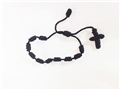 Black Knotted Cord Rosary Bracelet