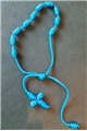 Blue Knotted Cord Rosary Bracelet