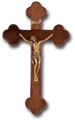 10 Inch Walnut and Museum Gold Wall Crucifix