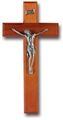 10 Inch Cherry Wood and Pewter Wall Crucifix