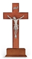 Standing Walnut and Genuine Pewter Crucifix