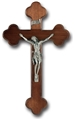 10 Inch Dark Walnut & Pewter Wall Crucifix