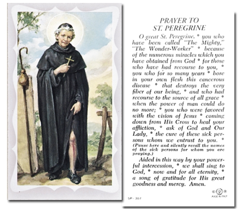 0440dce7bcf St Peregrine Prayer Card, pack of 100