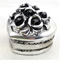 Silver Painted Rose Heart Box