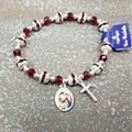 Red Crystal Christmas Rosary Bracelet