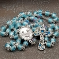 Blue Cat's Eye Nativity Rosary