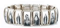 Pearl Inlay Metal Sacred and Immaculate Hearts Bracelet