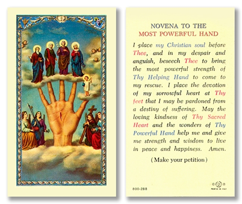 Novena to the Most Powerful Hand Laminated Prayer Card - Single or Bulk