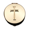 Basic Cross Polished Brass Pyx-1.5 inchx0.5 inch