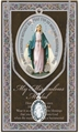 Pewter Miraculous Medal Necklace with Prayer Folder