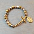 Gold Miraculous Medal and Cross Bracelet