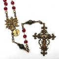 Genuine Ruby Antiqued Bronze Rosary with Infant of Prague Center