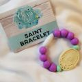 Purple Silicone Breakaway Chews Life Saint Bracelet-Size 1