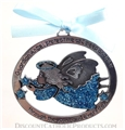 Glitter Epoxy Angel Crib Medal - Choose Blue or Pink