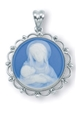 Blue Sterling Silver Madonna and Child Cameo Necklace