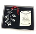 Mistletoe Pewter Ornament with Pearls in Gift Box