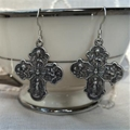 Four-Way Cross Earrings, Silver