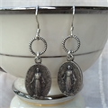 Miraculous Mary Circle Earrings, Silver or Gold