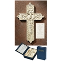 Alabaster Look Wedding Cross in Gift Box